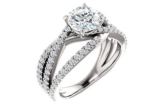 14K Multi Row Engagement Ring Mounting