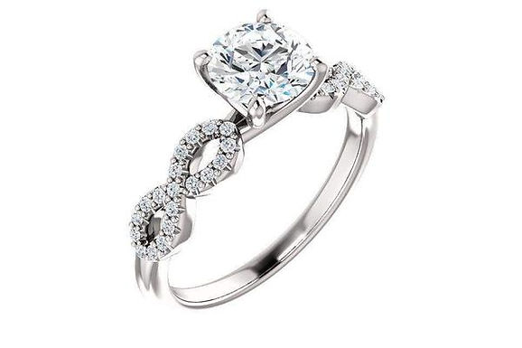 14K Pave Twist Forever One Moissanite Engagement Ring