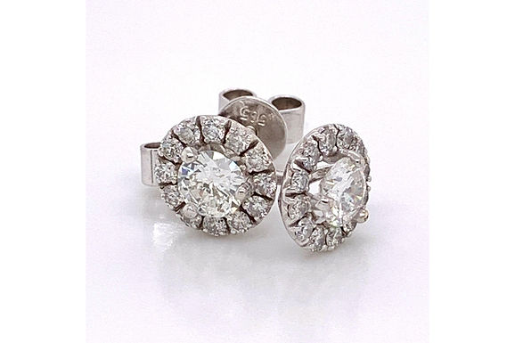 14KW Halo Diamond Stud Earring 1.15CTW