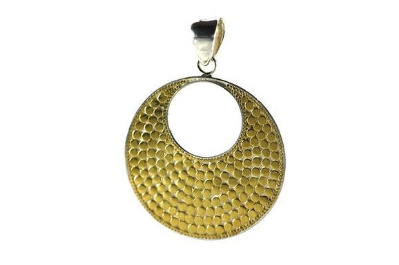 18K Gold Vermeil-Sterling Silver Bali Bola Round Pendant