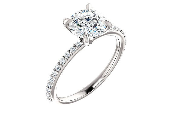 14K 1ct Moissanite Engagement Ring with diamond Accent