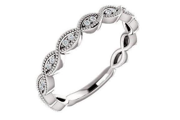 14K White 0.15 CTW Diamond Wedding Band 123135