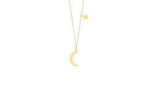 CRESENT MOON n STAR ADJ NECKLACE