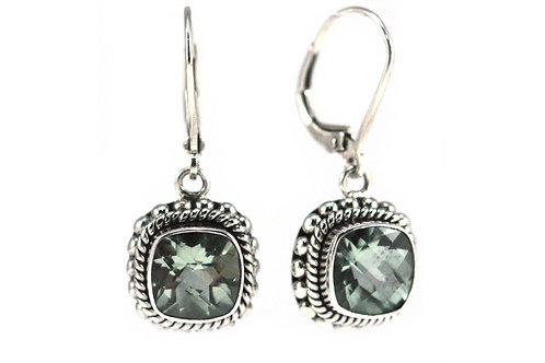 P A D M A 925 S. Silver Bali Green Amethyst Earrings