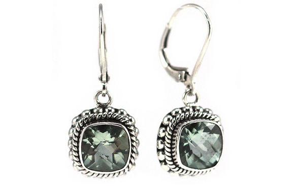 P A D M A 925 S. Silver Bali Green Amethyst Earrings