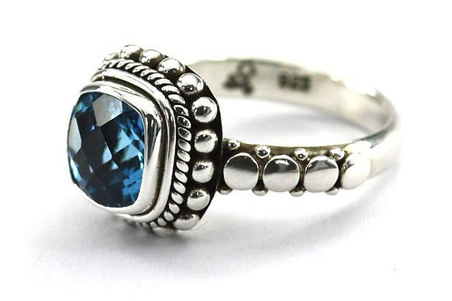 St.Silver Bali Blue Topaz Ring