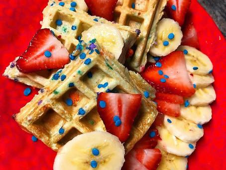 Birthday Cake Protein Waffles