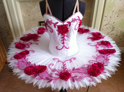 White tutu with pink embroidery