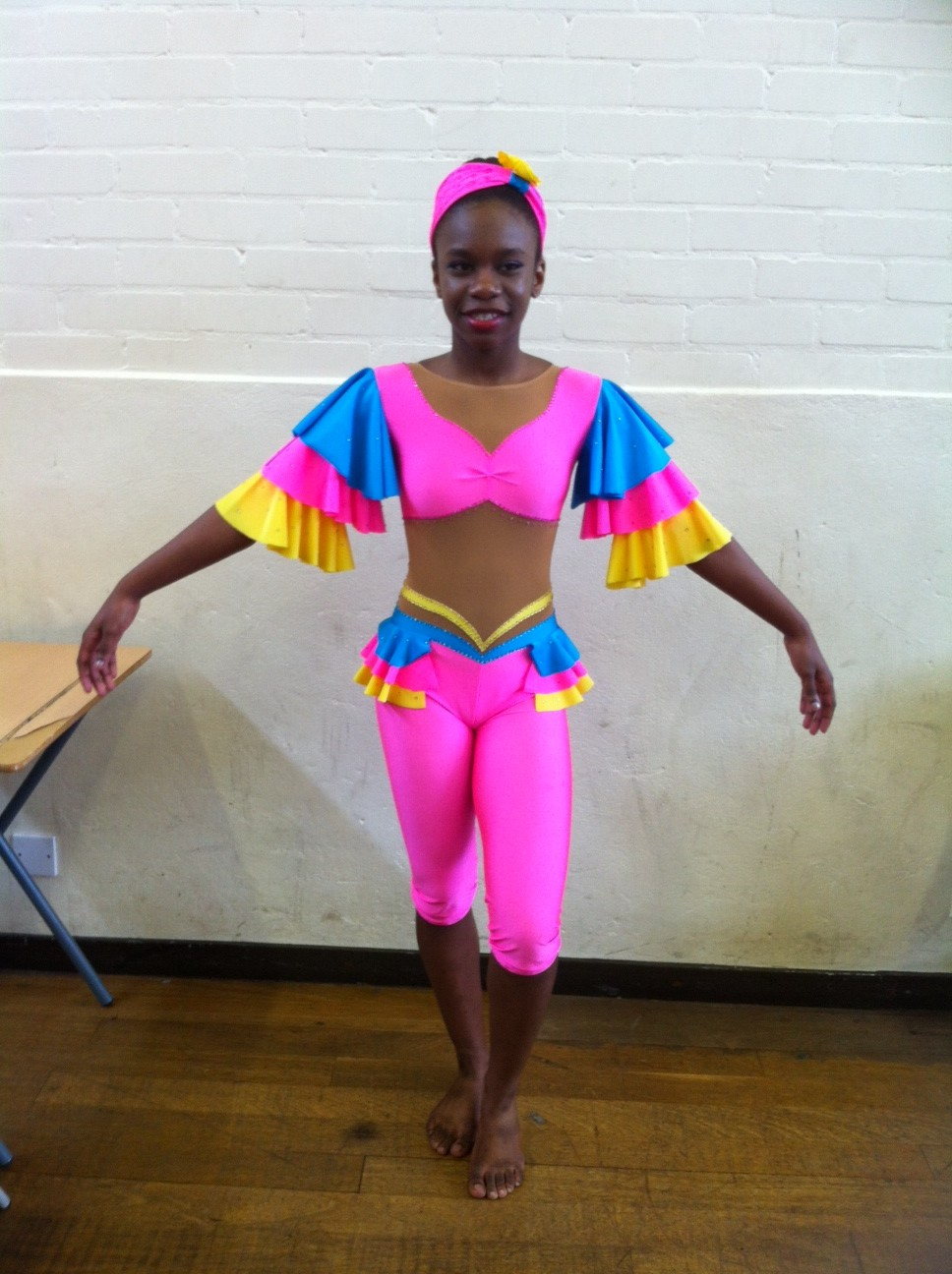 Bright coloured modern costume