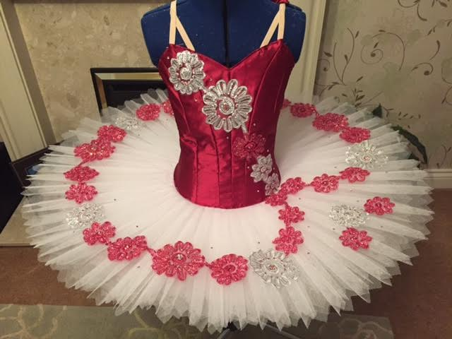 Red, pink and silver tutu