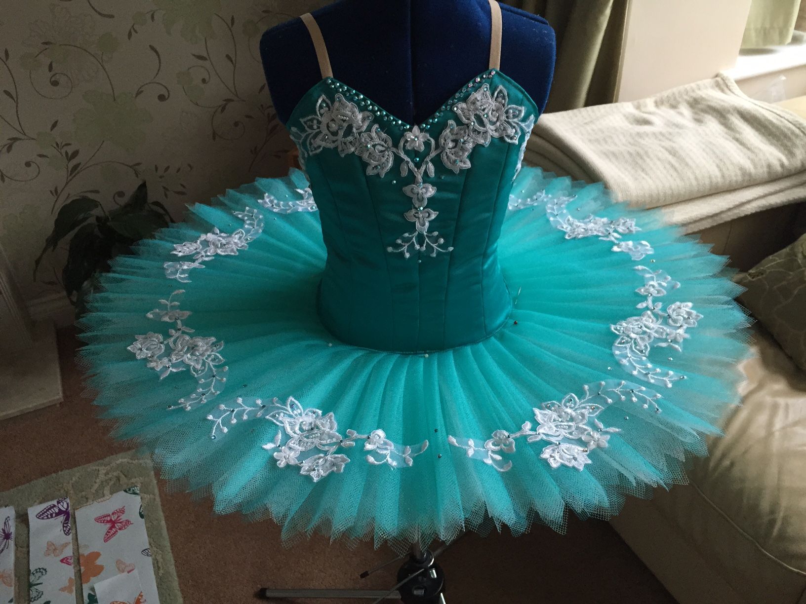 Jade green and white tutu