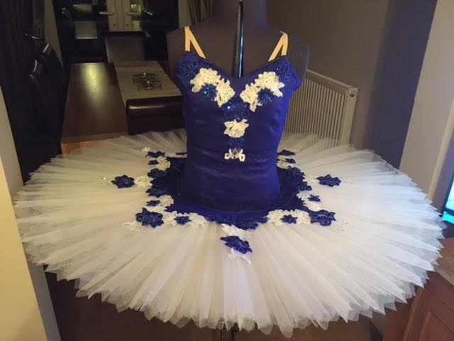 blue and white adults tutu