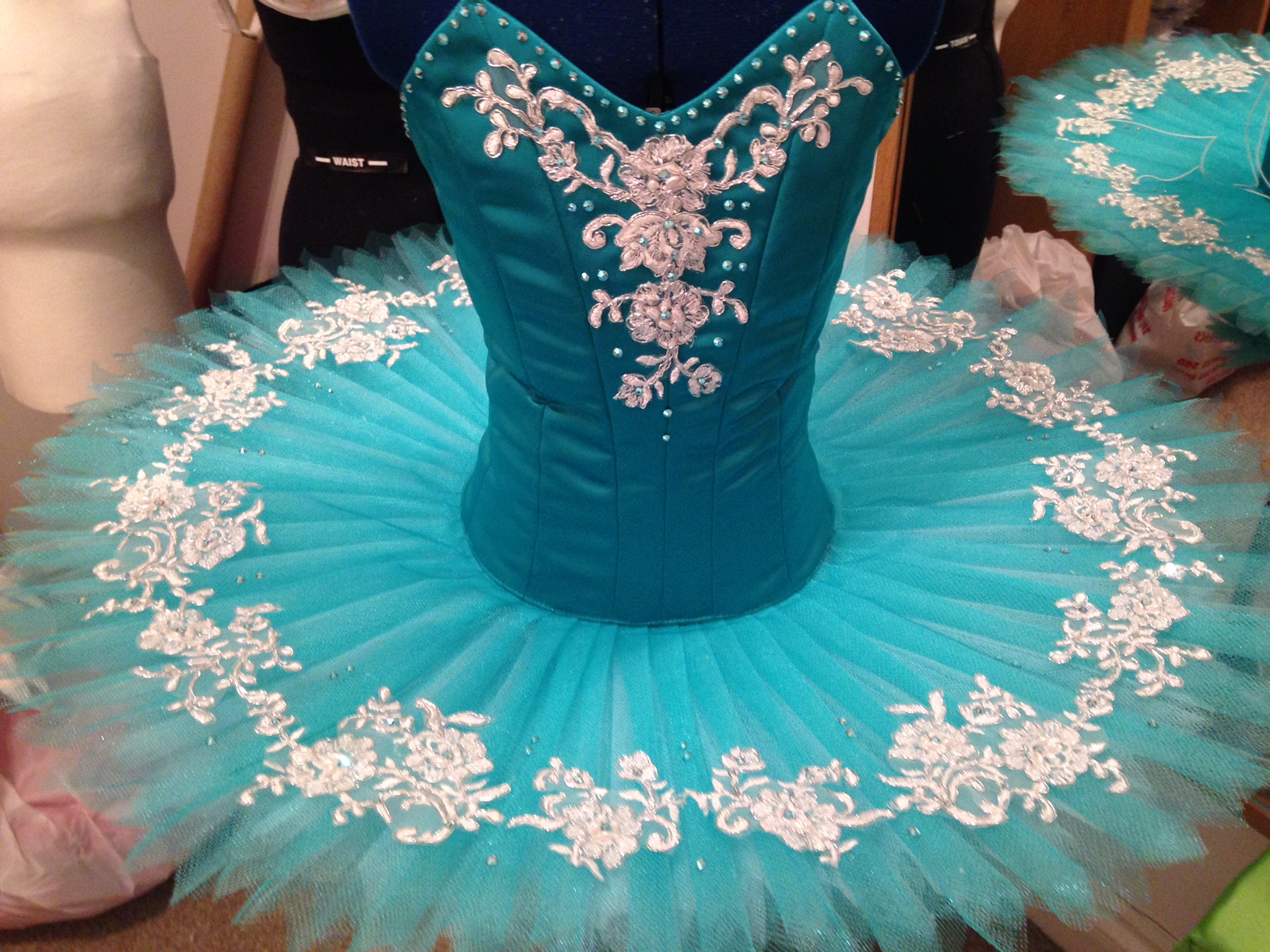 Jade green and white childs tutu
