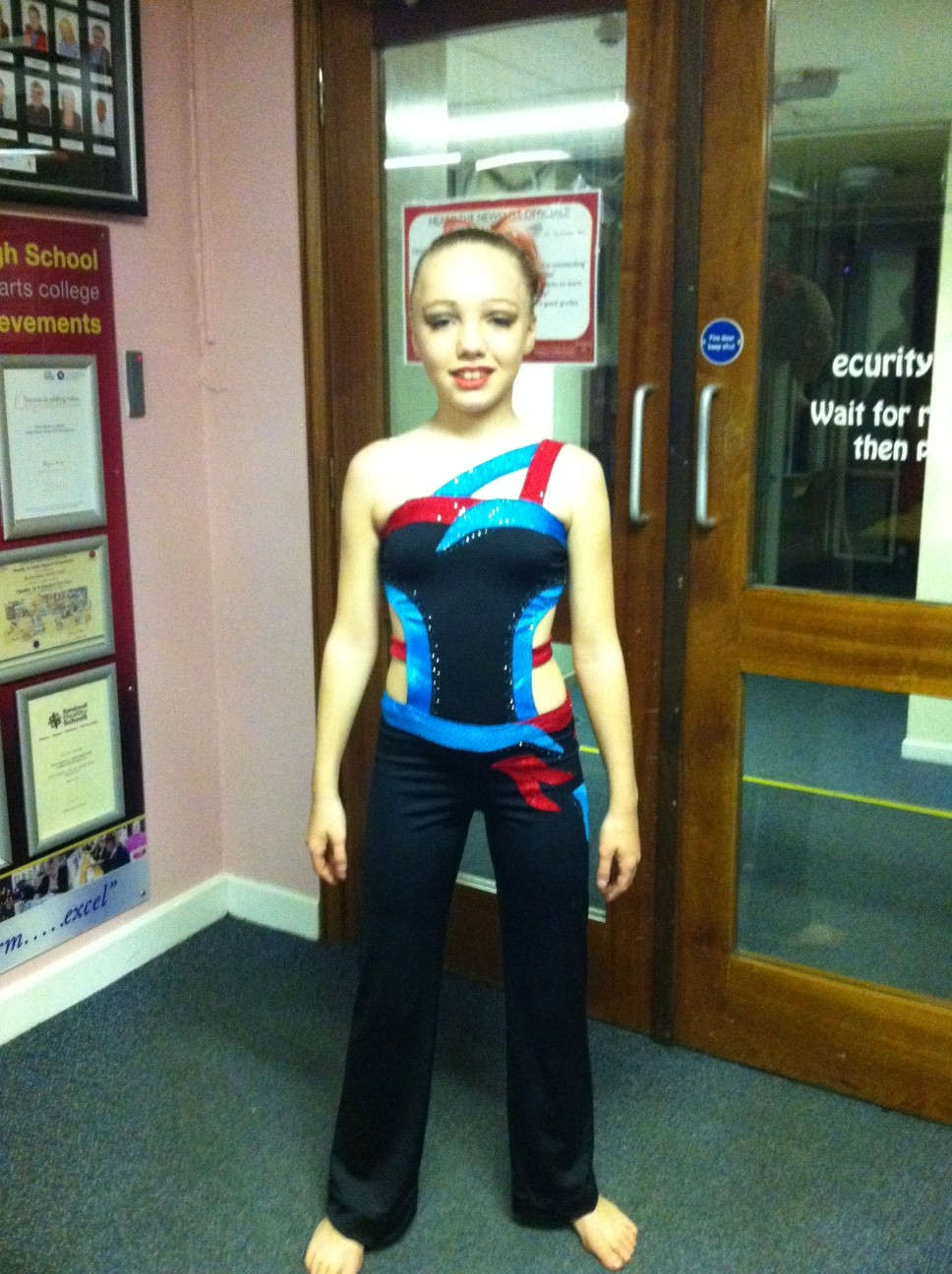Girls red and blue Modern dance costume.