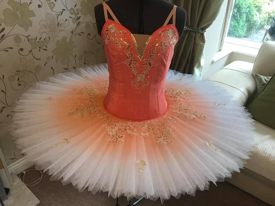 Peach white and gold tutu