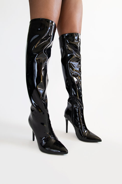 Pat and leather Vinyl knee-high boots