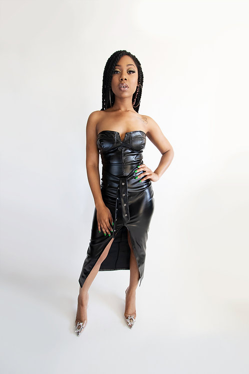 Strapless Faux Leather Moto dress
