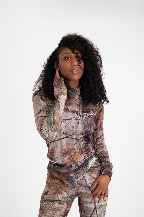 (C.Â.M.P design )  Look for prey Mock neck Reflective top