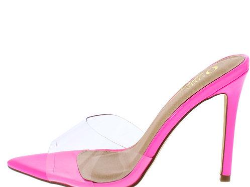 Hot pink peep toe heels