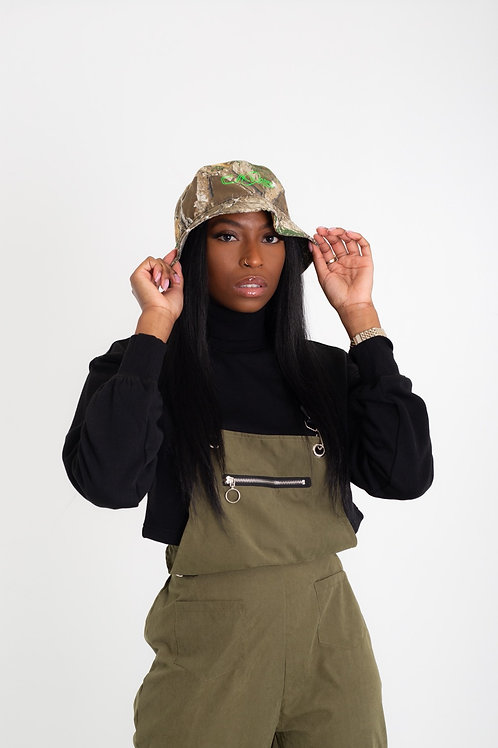 Olive green suede Overalls