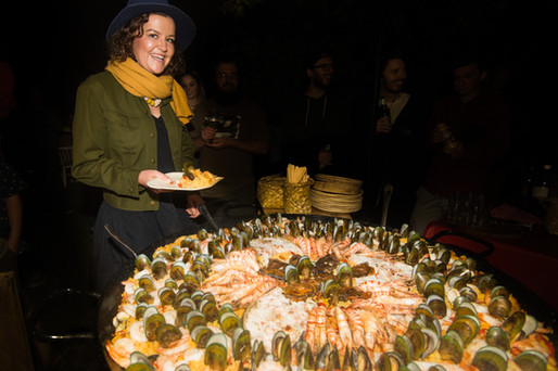 A seafood feast for 120 people