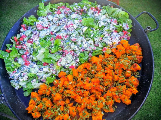 roast pumpkin salad and Greek salad