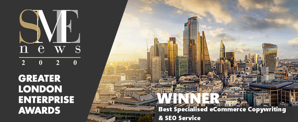 SEOzon Prime winner of Best Specialized eCommerce Copywriting and SEO Service at SME NEWS's 2020 Greater London Enterprise Awards