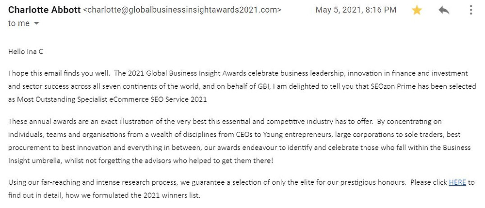 A screenshot of the announcement email received from Global Business Insight's Charlotte Abbott.