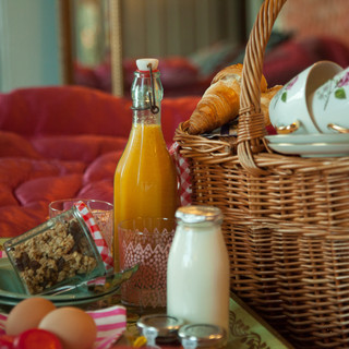 Breakfast hamper in bed.