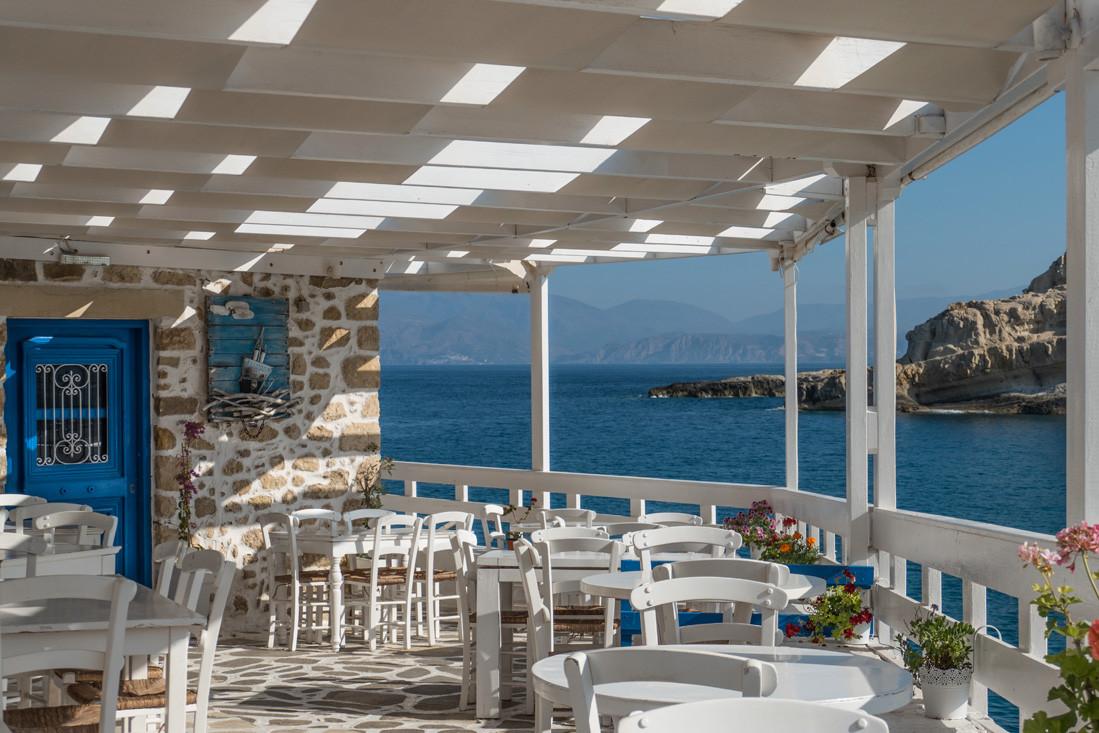 Terrasse de restaurant, Matala, Crète