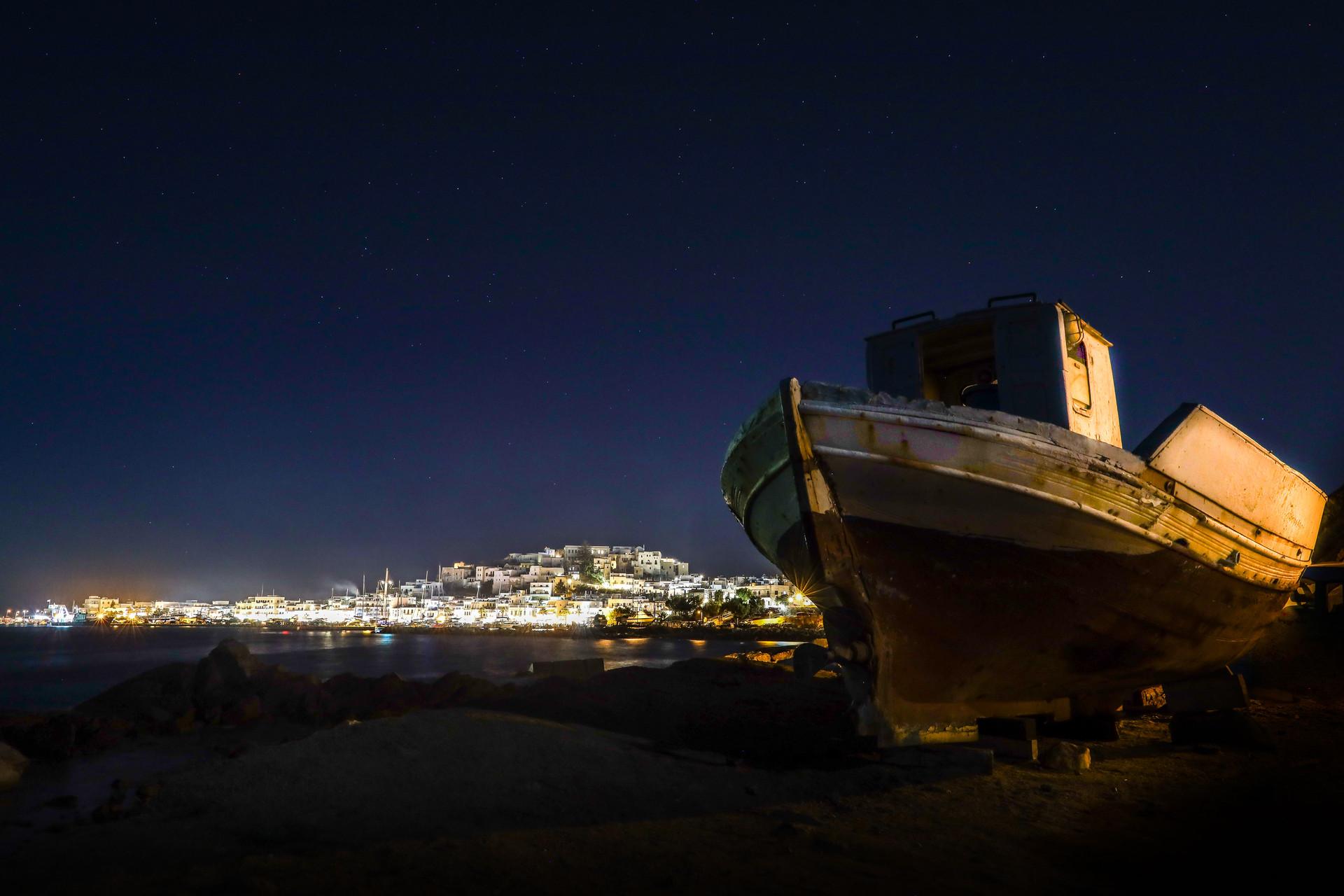 Bateau de nuit, Naxos, grèce