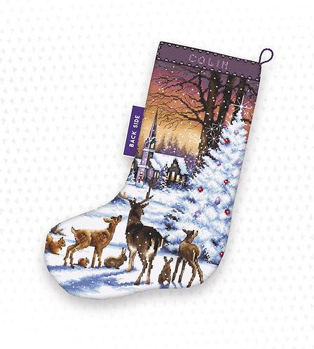 LETI 948 Christmas Wood - Calcetín de Navidad LETISTITCH