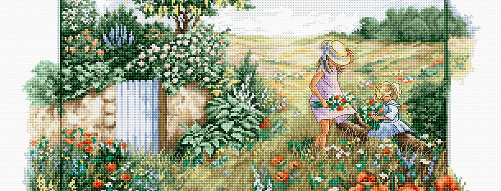 BU4013 Landscape with poppies - Cross Stitch Kit Luca-S