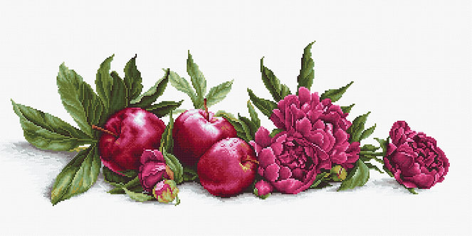 BA2357 Peonias y Manzanas Rojas - Luca-S - Kit de Punto de Cruz