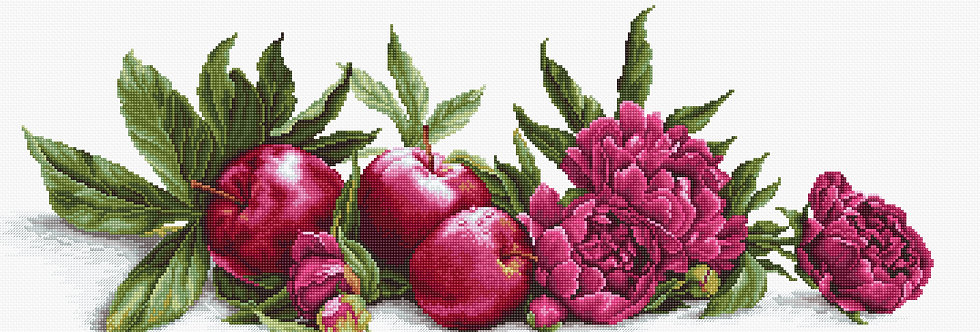 Peonies and Red Apples - Cross Stitch Kit Luca-S