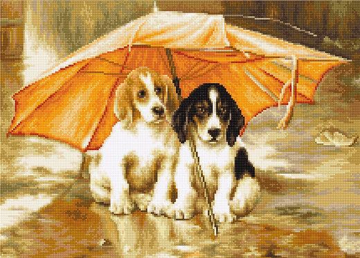 B550 Dos perros bajo un paraguas - Luca-S - Kit de Punto de Cruz