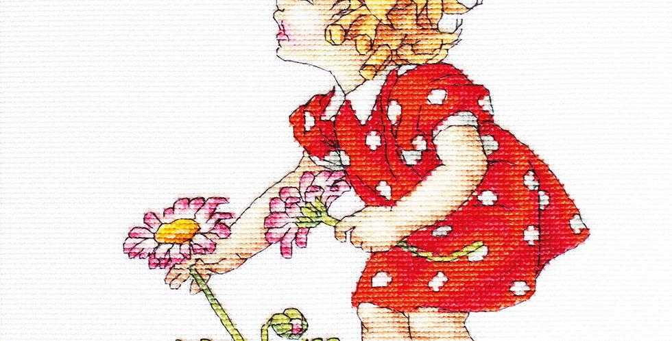 B1050 Girl in red dress - Cross Stitch Kit Luca-S