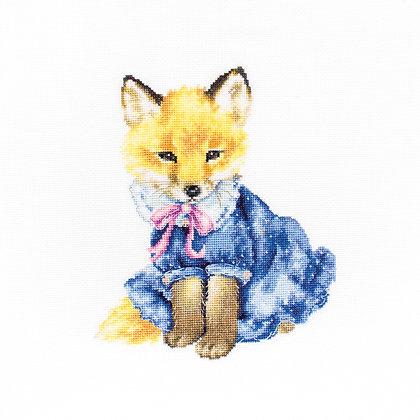 Fox puppies in a blue dress