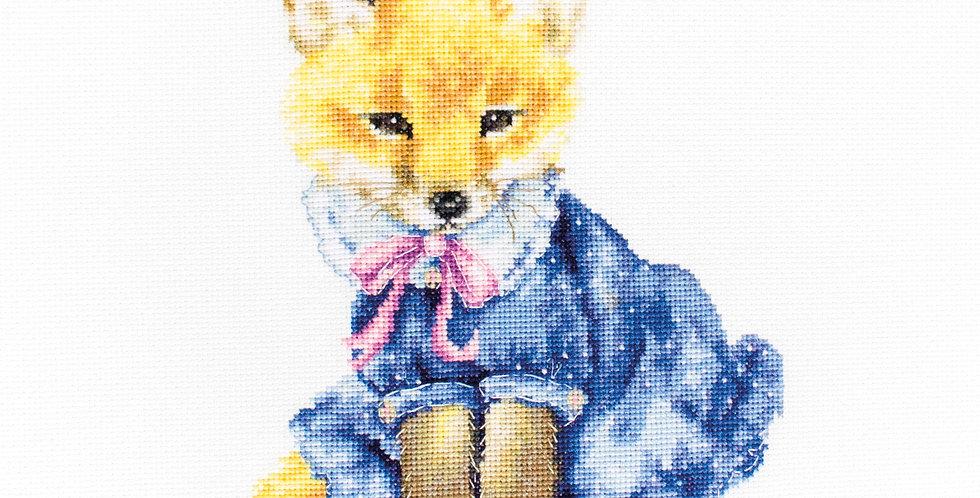 B1136 Fox cubs in a blue dress - Cross Stitch Kit Luca-S