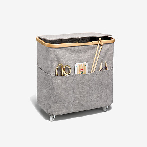 Fold & Store Box Multi, Canvas AND Bamboo, foldable with castors - Prym
