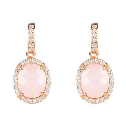 Beatrice Oval Gemstone Drop Earring Rose Gold Rose Quartz