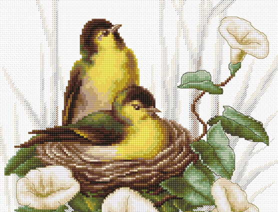 B2240 The Birds in the Nest - Cross Stitch Kit Luca-S