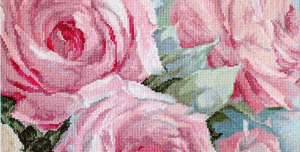 LETI 928 Pale Pink Roses -Cross Stitch Kit LETISTITCH