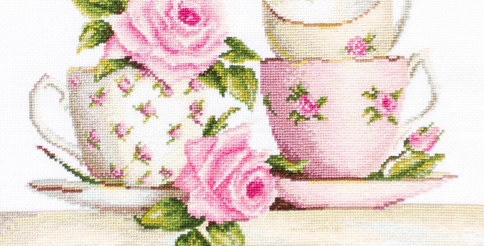 B2327 Stacked Tea Cups - Cross Stitch Kit