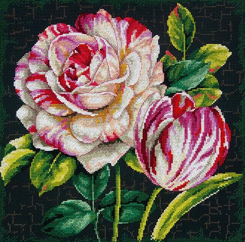 Tulipán y rosa - 70-35314 Dimensions - Kit de punto de cruz