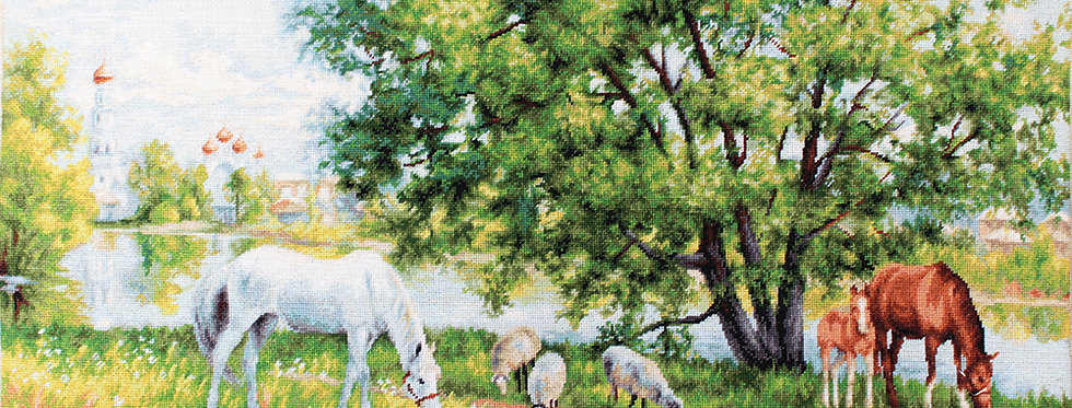 G541 Pastoral - Horses and sheep - Petit Point Kit Luca-S