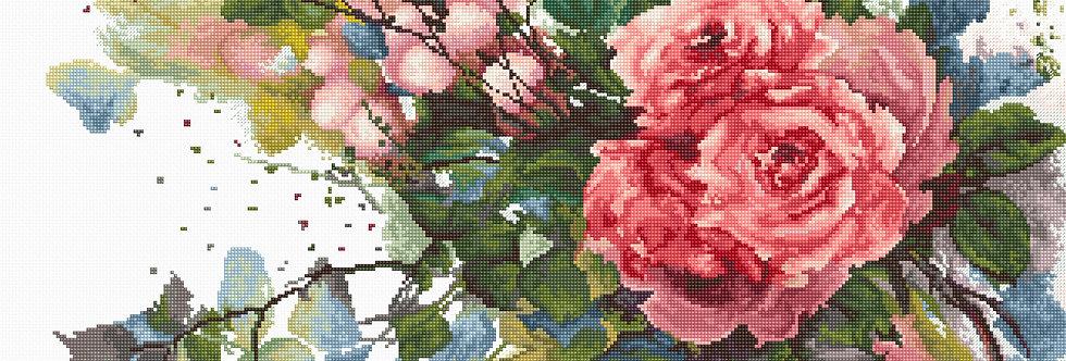 B2383 Red roses - Cross Stitch Kit Luca-S