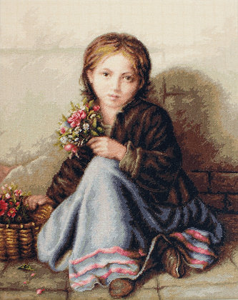 Little girl selling flowers