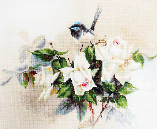 Bird and White Roses - Aida 16 ct.