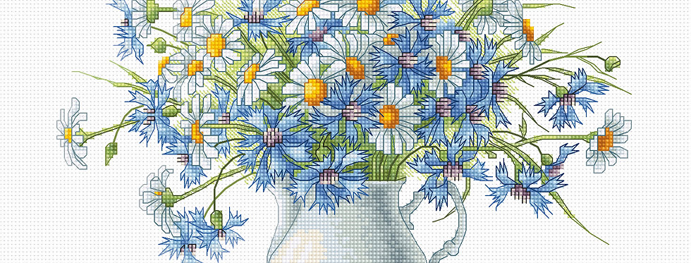 B2275 Cornflowers and Chamomile Vase - Cross Stitch Kit Luca-S